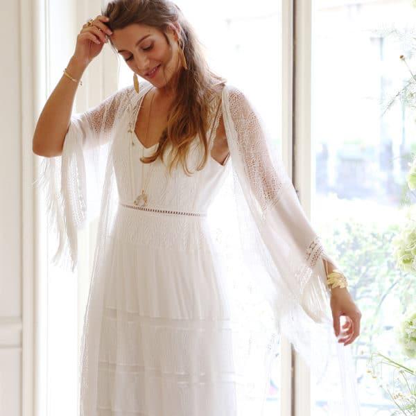 Kimono mariée en dentelle manches longues French Touch