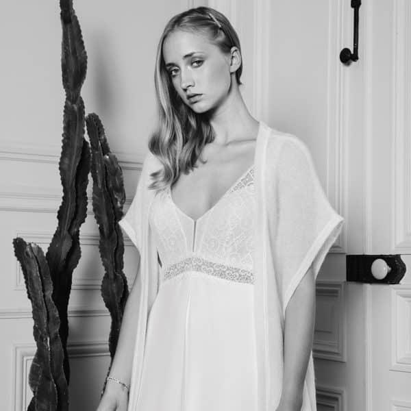GASTON Long gilet cape pour robe de mariée en laine
