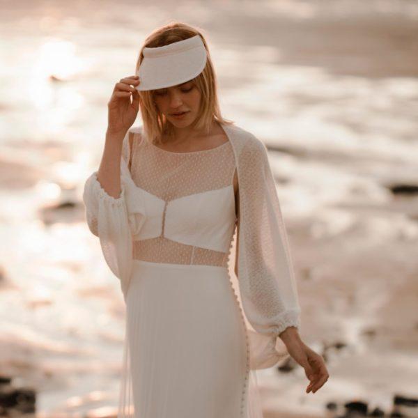 JUNE Robe de mariée longue empiècement budget avec gilet