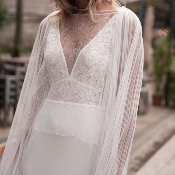 Blouse gilet pour robe de mariée HANS en tulle plissé