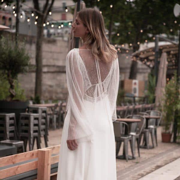 Blouse pour robe de mariée HANS en tulle plissé et résille