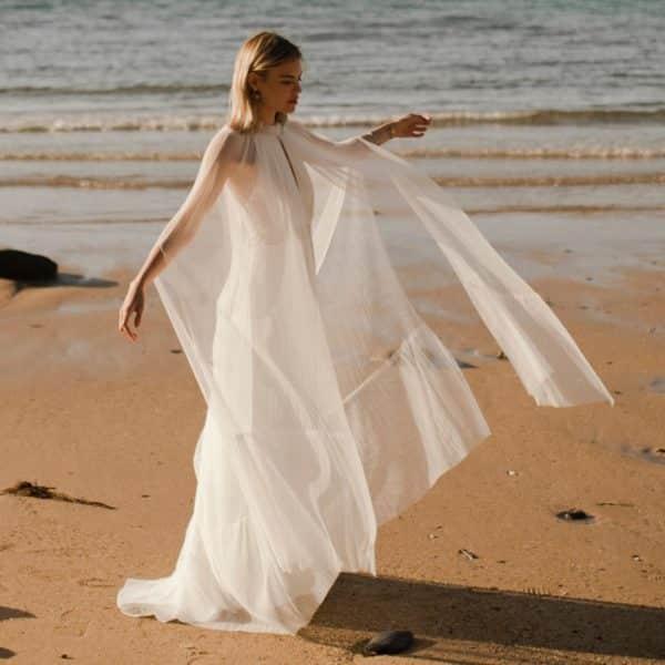 JACK Maxi-cape de mariée en tulle plissé