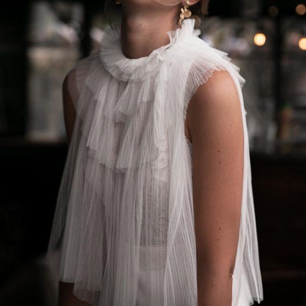 COL HUG en tulle accessoire pour robe de mariée bohème chic