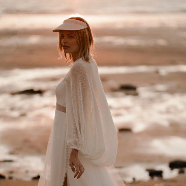 JULES Gilet pour robe de mariée manches bouffantes effet châle