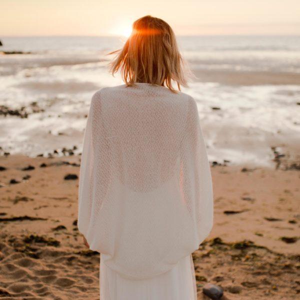 Gilet pour robe de mariée effet châle JULES