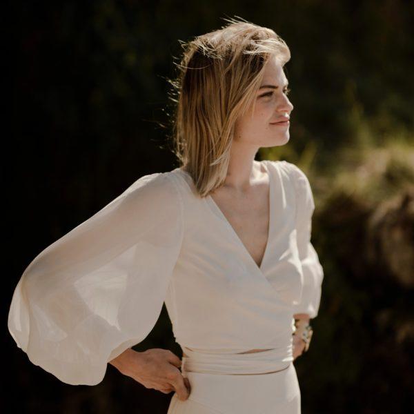 JOHNNY Blouse pour robe de mariée cache-cœur mousseline de soie