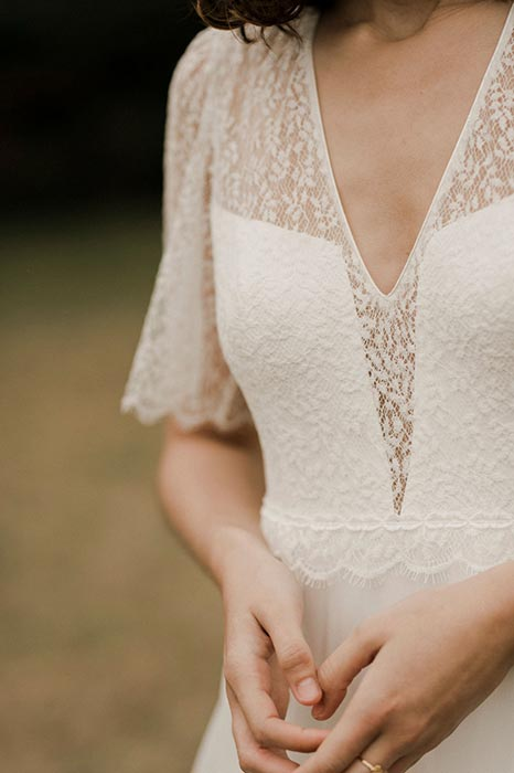 JAZZ robe de mariee boheme manches courtes – Amarildine