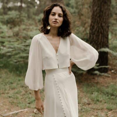 Ensemble robe de mariée 2 pièces blouse manches longues et jupe longue JE LE VEUX