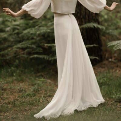 Jupe longue bohème pour ensemble robe de mariée 2 parties JE LE VEUX