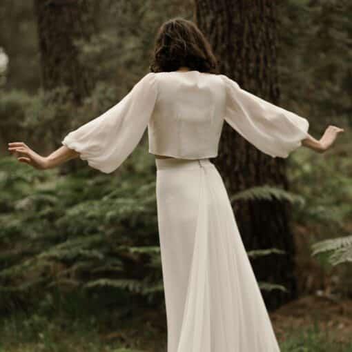 Blouse de mariée manches longues en mousseline de soie JE LE VEUX