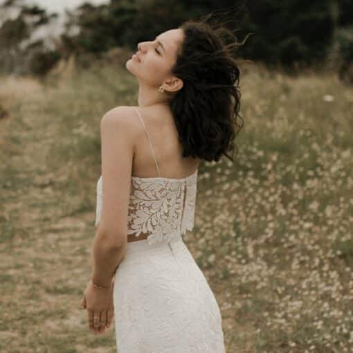 TOP JUST IN TIME fines bretelles ensemble 2 pièces robe de mariée