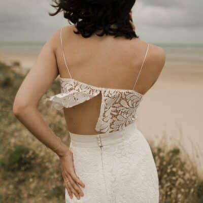JUST IN TIME Top fine bretelles en guipure fleurie ensemble robe de mariée 2 pièces