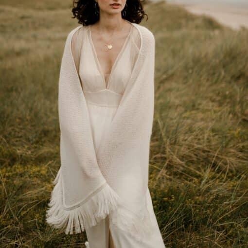 Etole pour robe de mariée mohair laine à franges