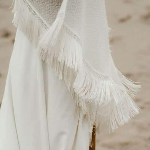 ETOLE à FRANGES en laine et mohair pour mariée